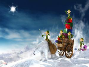 Elves delivering gifts