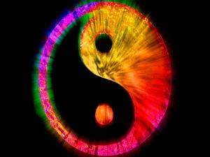 Ying-Yang in psychedelic colors