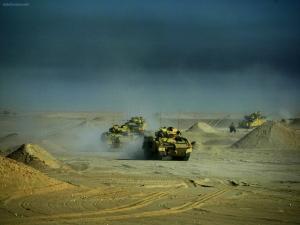 Tanks doing maneuvers in the desert
