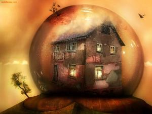 An old house into a crystal ball