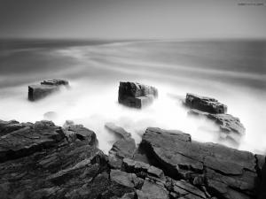 Sea mist on the breakwater