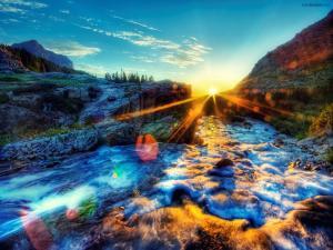 Bright sun illuminating a river