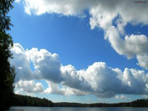 Cottony clouds on a blue sky