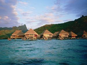 Cabins over the sea in Polynesia