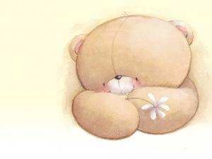 Teddy loving with a flower