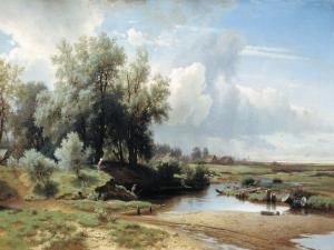 Paint of a beautiful landscape with fishermen