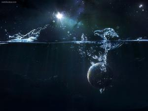 A planet falling to water