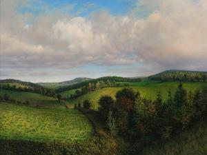 Painting of a green countryside