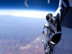 Felix Baumgartner about to jump from the capsule of the Red Bull Stratos mission