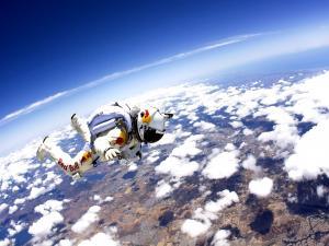 Felix Baumgartner above the clouds (Red Bull Stratos mission)