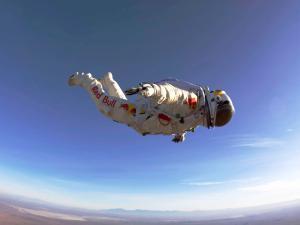 Felix Baumgartner in free fall (Red Bull Stratos mission)