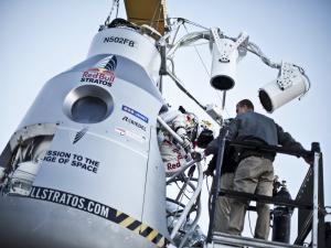 Felix Baumgartner entering into the capsule of the Red Bull Stratos mission