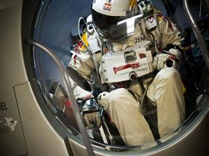 Felix Baumgartner inside the capsule of the Red Bull Stratos mission