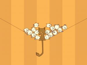 Cat surrounded by birdies