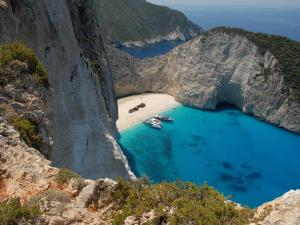 Cala of blue waters in Zakynthos (or Zante) island, Greece