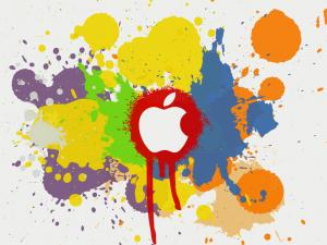 Apple logo between paint splashes