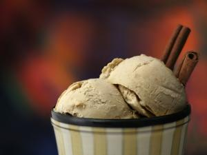 Two cinnamon ice cream balls