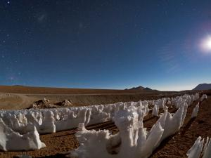 "Ice statues called ""Los Penitentes"" in the Atacama Desert (Chile)"