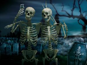 Skeletons making himself a photo with the mobile