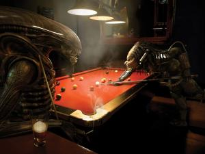 Alien and Predator playing a game of pool