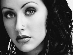 Christina Aguilera in black and white