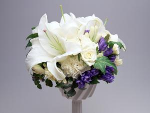 White and purple floral decoration