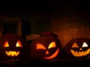 Halloween pumpkins lighted
