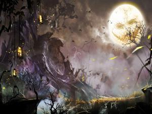 Halloween night with full moon