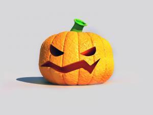 A Halloween pumpkin, a little angry
