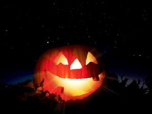 Giant pumpkin lighted for Halloween