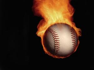 Baseball ball on fire