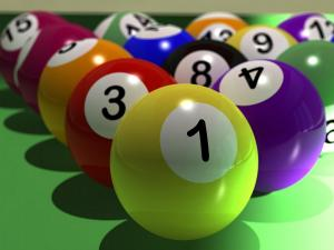 Pool balls in start position