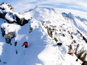 Extreme skiing in the mountains of Columbia, Canada