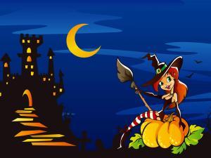 Halloween witch over a pumpkin