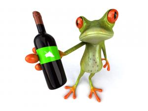 To this frog likes the wine