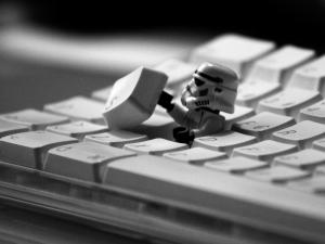 Star Wars soldier coming out of the keyboard