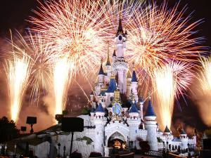 Fireworks at Disney castle