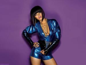 Rihanna in purple background