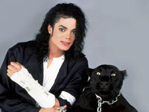 Michael Jackson with a black panther