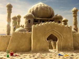 A large sand castle