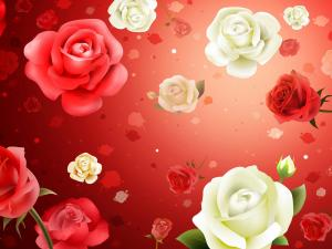 Stamping of white and red roses