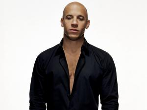 Actor Vin Diesel with black shirt