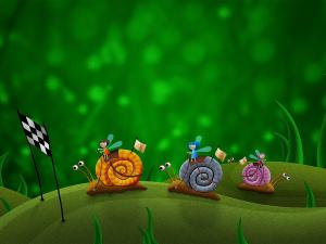 Race of small fairies mounted in snails