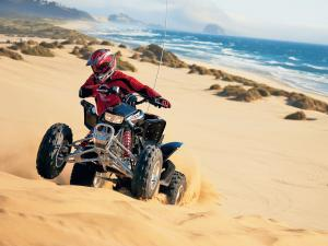 Driving a quad on the beach