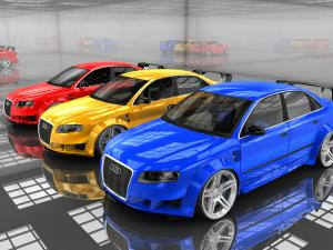 Audis of color red, yellow and blue