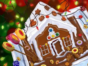 A little Christmas house of chocolate and gingerbread cookies