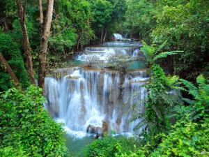 Beautiful waterfalls in Kanchanaburi (Thailand)