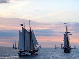 Sailboats in the sea at dawn
