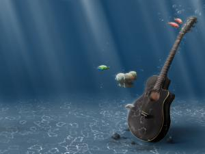 Guitar on the seabed