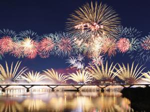 Nocturnal fireworks over a bridge